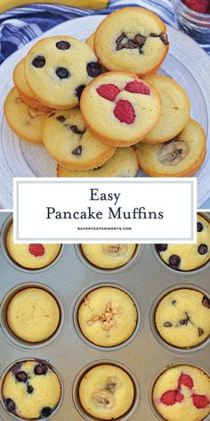 Pancake Muffins – Quick and Easy Homemade Pancakes Pancake Muffins are a quick and easy pancake recipe that's perfect for busy mornings. Enjoy these homemade pancakes at home or on the go. Quick And Easy Pancake Recipe, Easy Homemade Pancakes, Yummy Pancake Recipe, Pancakes Easy, Pancake Recipes, Pancake Muffins Recipe Bisquick, Pancakes In The Oven, Quick Recipes For Kids, Easy Baking For Kids