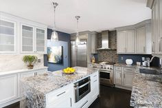 Kitchen remodel by @calvettabros  shows off granite countertops. #housetrends