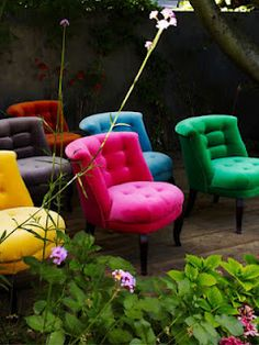 More gorgeous things fromt he UK. Bright funky chairs from The Velvet Chair Company Funky Furniture, Unique Furniture, Outdoor Furniture Sets, Funky Chairs, Cool Chairs, Coloured Dining Chairs, Funky Sofa, Colorful Chairs, Bedroom Chairs Uk