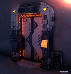 Sci-Fi Door by GeoffreyCouppey Spaceship Interior, Futuristic Interior, Futuristic Art, Laser Tag, Sci Fi Games, Star Wars Room, Templer, Gaming Room Setup, Gamer Room