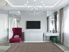 Дизайн интерьера спальни в двухкомнатной квартире 81 кв.м в стиле неоклассика с элементами ар-деко17 Home Kitchens, Bathroom Lighting, Oversized Mirror, Sweet Home, Projects, Furniture, Home Decor, Bathroom Light Fittings, Log Projects