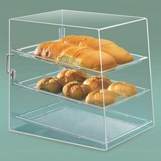 Cal Mil Recycled Acrylic Bakery Display Case with Rear Door - 3 Trays Bakery Display Case, Display Cases, Bakery Box, Bakery Ideas, Acrylic Cake Stands, Food Service Equipment, Acrylic Display, Store Displays, Dessert Recipes