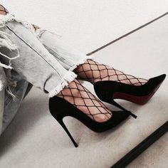 Style, socks, shoes, fishnet stocking