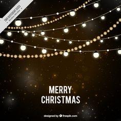 Fundo estrelado da noite com luzes de Natal Vetor grátis