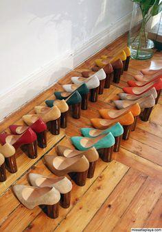 rainbow of wooden heels.
