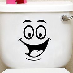 Bathroom Organization: [Free Shipping] Smiling Face Waterproof Toilet Sticker…