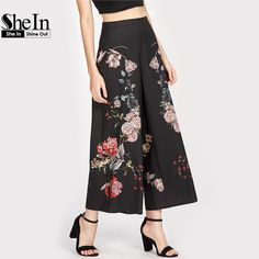 Smooth and sexy, this floral pant has a high waist and dramatic wide legs for a twist on the classic silhouette. Pair with a fitted top to stay trendy from weekend brunch until last call. Fashion Pants, Fashion Outfits, Pinstripe Pants, Floral Pants, Wide Leg Pants, Wide Legs, Pants Outfit, Runway Fashion, Designer Dresses