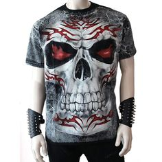 Gothic T-Shirt mit Flamed Tribal Skull Aufdruck Heavy Metal Fashion, Dark Fashion, Skull Shirts, Tee Shirts, Ripped Jeans Men, Traditional Fashion, Cool Hoodies, Longsleeve, Vogue