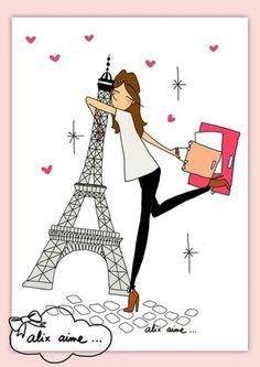 Illustration I LOVE PARIS : Affiches, illustrations, posters par alixaime Illustration Parisienne, Cute Illustration, Beautiful Paris, I Love Paris, Art Parisien, Image Paris, Paris Bedroom, Paris Images, Paris Mode