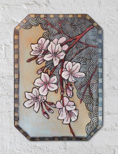 Cherry Blossom Wood Burning and Painting by AnaliMWG on Etsy, $100.00 Really like those swirls & the color treatment is great too ;)