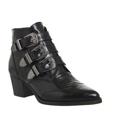 Office Jagger Multi Buckle Boots Black Croc Embossed Leather - Ankle Boots