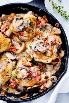 Creamy Bacon Mushroom Thyme Chicken