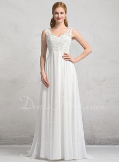 Vestidos princesa/ Formato A Decote V Sweep/Brush trem tecido de seda Vestido de noiva com Beading lantejoulas (002083688)