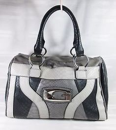 GUESS-GRAY-BLACK-SATCHEL-MEDIUM-HANDBAG-FAUX-SNAKE-SKIN-VERY-GOOD-CONDITION