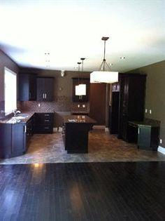 Kitchen-I like the dark cabinets/flooring