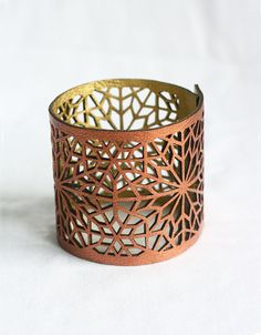 Geometric Laser cut Copper & Gold Faux Leather Cuff (Moroccan Zellij inspired)