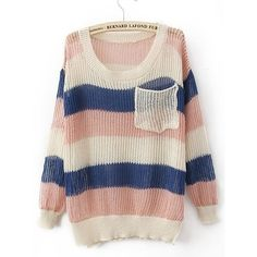 Pink Blue Round Neck Long Sleeve Striped Pockets Cotton Blends... ($29) found on Polyvore