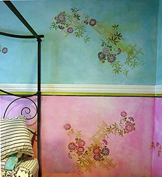 Tutorial: Stenciling On Color Washed Walls Or Canvases (Bohemian or Romantic decor) Bedroom Decor, Wall Decor, Wall Art, Diy Wall, Bedroom Wall, Idee Diy, House Painting, Painting Walls, Diy Painting