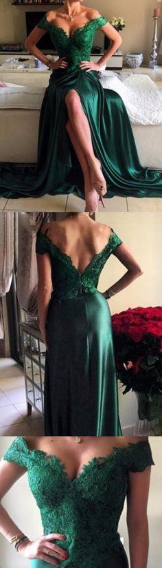 Princess Prom Dresses, Dark Green Prom Dresses, Long Prom Dresses With Split-front Sleeveless Split, Long Prom Dresses, Long Evening Dresses, Green Prom Dresses, Dark Green dresses, Princess Prom Dresses, Prom Dresses Long, Long Green dresses, Green Long dresses, Prom Long Dresses