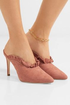 Heel measures approximately 90mm/ 3.5 inches Antique-rose suede (Goat) Slip on Designer color: Dusty Rose Imported