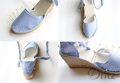 Dritz Espadrilles: Make a Pair of Wedge Espadrilles Nike Free Shoes, Nike Shoes, Sewing Blogs, Sewing Diy, Minion Shoes, Shoe Makeover, Trash To Couture, Fashion Shoes, Runway Fashion