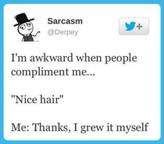 I'm going to start saying this to random  people who come up to me in bars to compliment my hair. Lol.