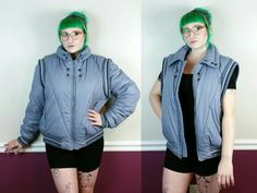 Vintage convertible puffer jacket vest  80s puffy coat
