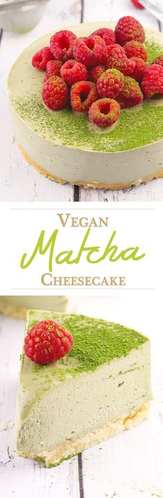 Vegan Matcha Cheesecake - shortbread base and super creamy matcha cheesecake topping.