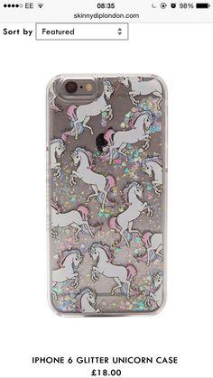 iPhone 6 skinny dip case. Glitter/unicorns/pink