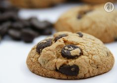 Dark chocolate chip gluten free biscuit - it is great with a hot chocolate. Recipe designed by Decadent Alternatives.