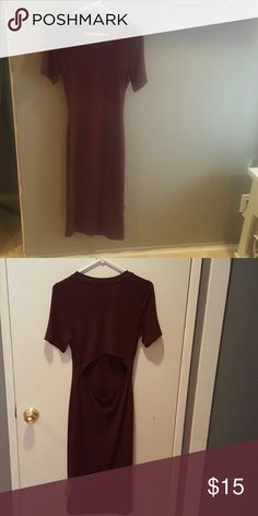 Brand New Dress- casual This is a 3/4 length dress. Deep maroon in color. Medium weight cotton blend. Back is open across lower back area. Great material! New with tags! Kaitlyn  Dresses Backless