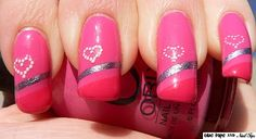 Two tone pink & silver diagonal with dotted heart (use scotch or painter's tape to create lines)