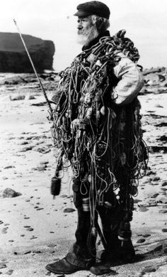 Old photograph of a fisherman in Birsay Orkney Islands , Scotland . All photographs are copyright of Sandy Stevenson, Tour Scotland, an...