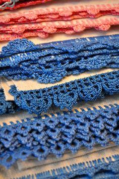 Vintage crochet on linens.