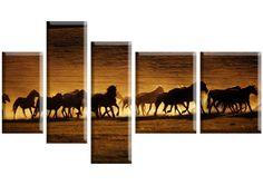 Tablou Horses 3616 Dimensiuni: 1x 20x40 - 2x 20x60 - 2x 30x40 cm Total: 120x70 cm Bookends, Horses, Canvas, Modern, Home Decor, Decoration Home, Interior Design, Home Interior Design, Horse