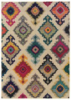 Modern Beige Multi-Color Ikat Style Rug