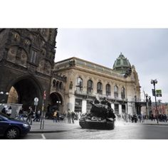 Prague Soviet tank T-34-85 in front of the Powder Tower