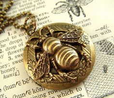 Bee Locket Necklace Vintage Reproduction Round Primitive Rustic Antiqued Brass Finish Gothic Victorian Steampunk Jewelry