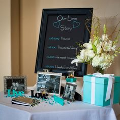 Engagement welcome table, tiffany blue http://www.pattiandrephotography.com/wedding