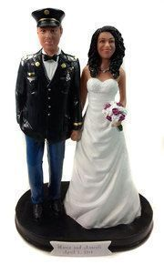 Army Officer Classic Wedding Cake Topper.  Custom wedding cake toppers for military couples.