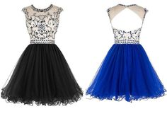 Bridal Beaded Backless Tulle Short Prom Dress Homecoming Dress,A-Line prom dress