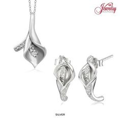 Genuine Diamond Accent Calla Lily Pendant or Earrings in Sterling Silver at 89% Savings off Retail!