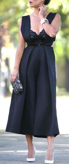 Black Plunge Neckline Jumpsuit Fall Streetstyle Inspo by Fashion-a-Holic