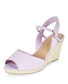 Wide Fit Lilac Ankle Strap Straw Wedges | New Look theres soething about these i just like! i feel like they could be an everyday pair.