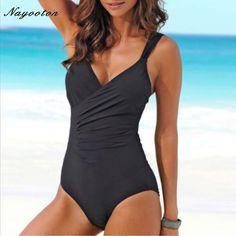 One Piece Women Summer Swimwear sexy Halter Top Bathing Suit Plus Size Swim  Suits Push up Ruffle Solid Monokini Price  25.40   FREE Shipping  bodysuit fa50d5007b