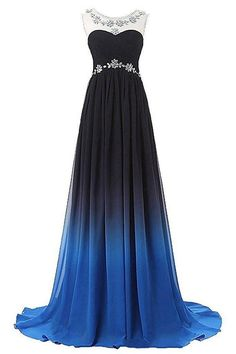 Browse Our Large Selection of Long Prom Dresses,Cheap Prom Dresses,Custom Made Prom Dresses,Ombre Bateau Sleeveless Sweep Train Ruched Chiffon Prom Dress with Beading,Ombre Prom Dresses at Simibridaldresses.com