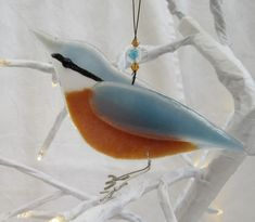 Fused glass nuthatch - made to order - garden birds - british birds - fused glass - garden ornament - british wildlife by 1stGlassCreations on Etsy