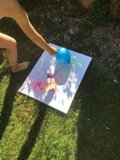 Luftballon-Farbspritzbilder - eine tolle Malbeschäftigung für Kinder. Durch das Platzen der Luftballons wird jedes Bild zum Unikat. Ein toller Malspaß für..