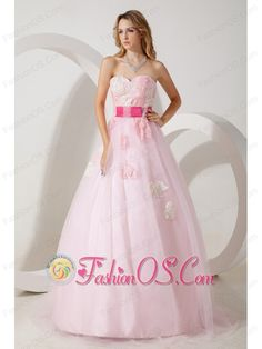 Baby Pink A-line Sweetheart Prom / Evening Dress Tulle Appliques Floor-length- $154.06  http://www.fashionos.com  Simple and elegant strapless ball gown. A fitted, sweetheart bodice made of an all-over appliques accenting the sweetheart neckline. You will be a hit in this gorgeous ball gown that has a colorful waistband and zipper up back. Full tulle skirt is breathtaking. And the leaf appliques scatter in the floor lengh skirt and add the interest of this gorgeous dress.