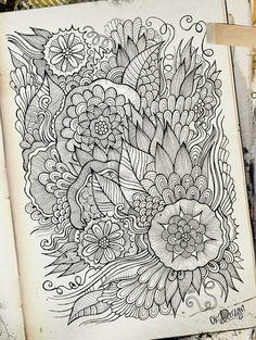 Doodle flowers by balabolka, via Behance